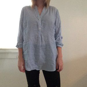 Blue and White Pinstriped Tunic Top